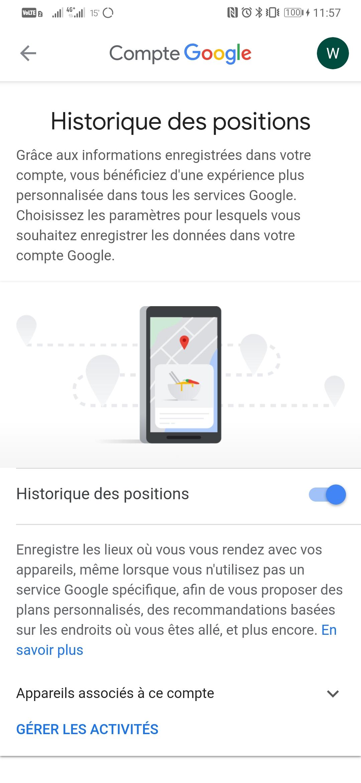 Paramétrage de l'historique Google